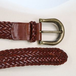 LANDS END Braided Woven Red Brown Leather Belt